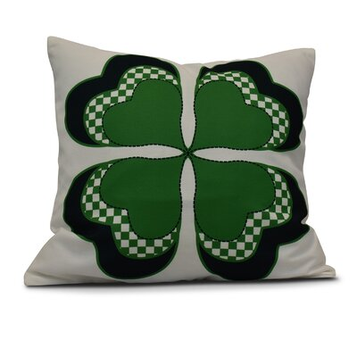 Funky Junky Leaf Clover Throw Pillow Size: 26 H x 26 W, Color: Green