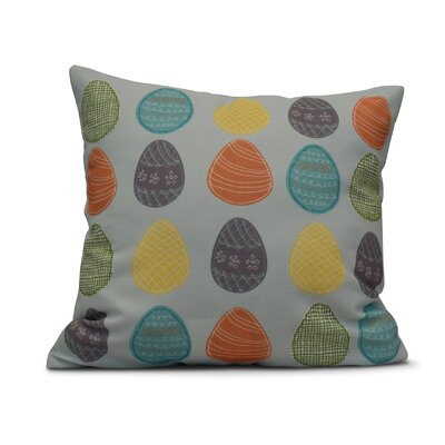 Funky Junky Eggs-ellent! Throw Pillow Color: Aqua, Size: 26 H x 26 W