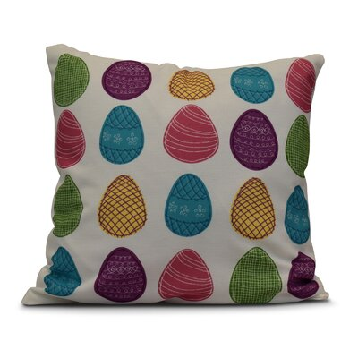 Funky Junky Eggs-ellent! Throw Pillow Size: 26 H x 26 W, Color: White