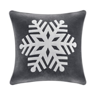 Velvet Snowflake Square Throw Pillow Color: Grey/Ivory