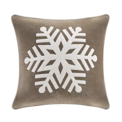 Velvet Snowflake Square Throw Pillow Color: Taupe/Ivory