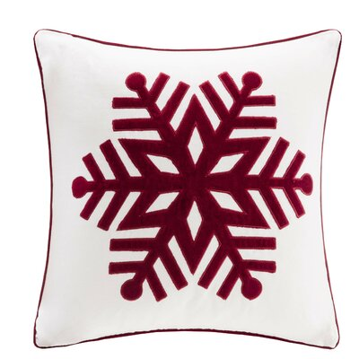 Velvet Snowflake Square Throw Pillow Color: Ivory/Red