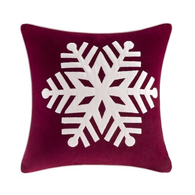 Velvet Snowflake Square Throw Pillow Color: Red/Ivory