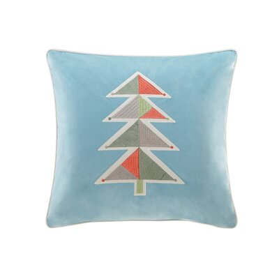 Holiday Novelty Geo Tree Square Throw Pillow Color: Blue