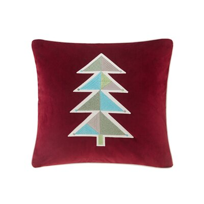 Holiday Novelty Geo Tree Square Throw Pillow Color: Red
