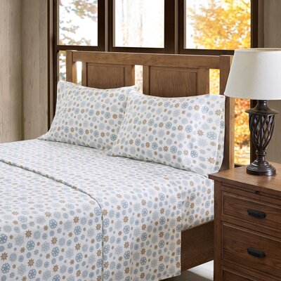 100% Cotton Flannel Sheet Set Size: King, Color: Tan/Blue Snowflakes