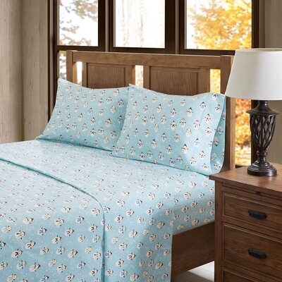 Snowmen 100% Cotton Flannel Sheet Set Size: Queen