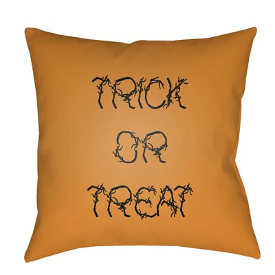 Boo Indoor/outdoor Throw Pillow Size: 20 H x 20 W x 4 D, Color: Orange / Black