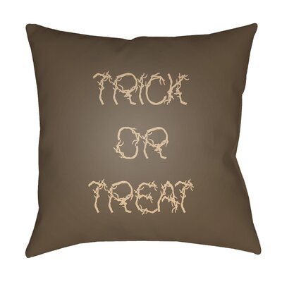 Boo Indoor/outdoor Throw Pillow Size: 18 H x 18 W x 4 D, Color: Brown / Beige