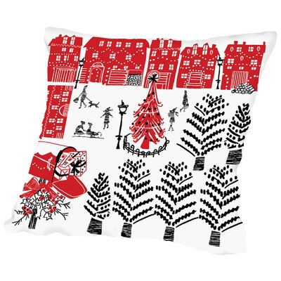 Holiday Scene Throw Pillow Size: 16