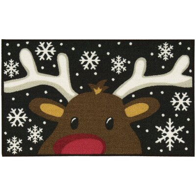 Reindeer Black/White Area Rug Rug Size: 18 x 29