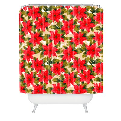 Jade Poinsettia Shower Curtain