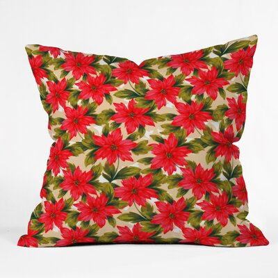 Jade Poinsettia Throw Pillow Size: Large