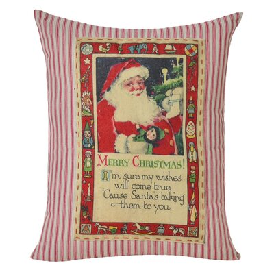 Santa Decorative 100% Cotton Lumbar Pillow
