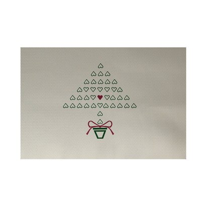 Hearty Holidays Decorative Holiday Print Ivory Cream Indoor/Outdoor Area Rug Rug Size: 3 x 5
