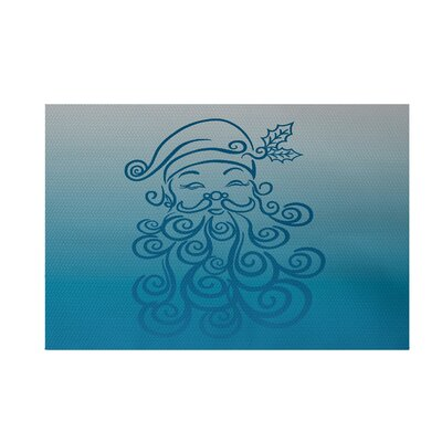 Santa Baby Decorative Holiday Ombre Print Turquoise Indoor/Outdoor Area Rug Rug Size: 3 x 5