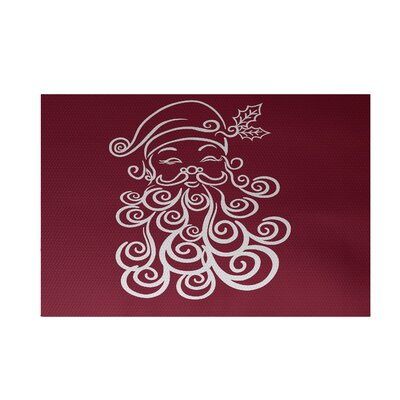 Santa Baby Decorative Holiday Print Cranberry Burgundy Indoor/Outdoor Area Rug Rug Size: 2 x 3