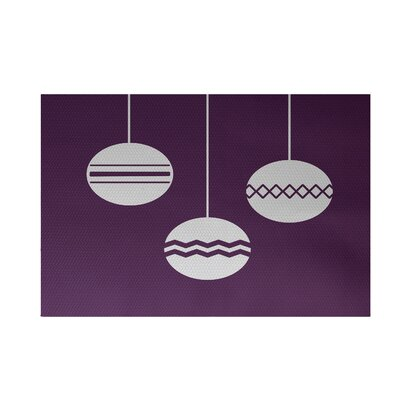 Geo-Bulbs Decorative Holiday Print Purple Indoor/Outdoor Area Rug Rug Size: 3 x 5