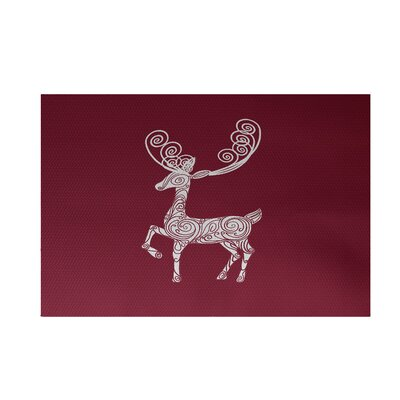 Deer Crossing Decorative Holiday Print Cranberry Burgundy Indoor/Outdoor Area Rug Rug Size: 4' x 6'