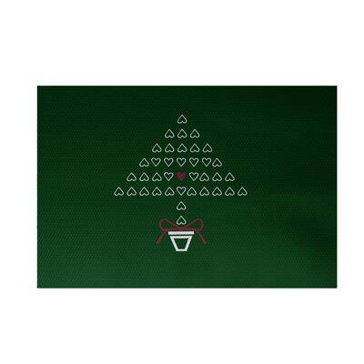 Hearty Holidays Decorative Holiday Print Dark Green Indoor/Outdoor Area Rug Rug Size: 2 x 3