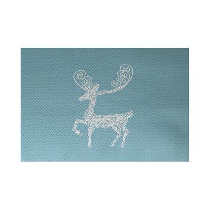 Deer Crossing Decorative Holiday Print Light Blue Indoor/Outdoor Area Rug Rug Size: 2 x 3