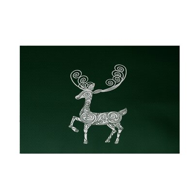 Deer Crossing Decorative Holiday Print Dark Green Indoor/Outdoor Area Rug Rug Size: 3 x 5
