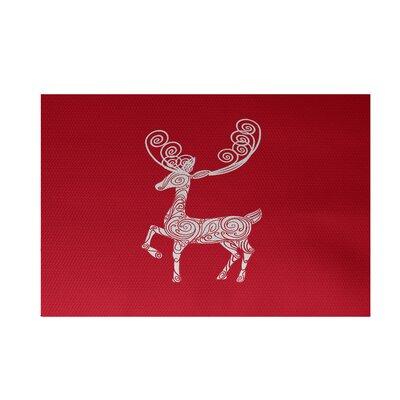 Deer Crossing Deer Crossing Decorative Holiday Print Red Indoor/Outdoor Area RugHoliday Animal Print Red Indoor/Outdoor Area Rug Rug Size: 2 x 3