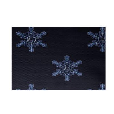 Flurries Decorative Holiday Print Navy Blue Indoor/Outdoor Area Rug Rug Size: 2 x 3