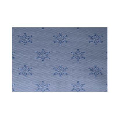 Flurries Decorative Holiday Print Blue Indoor/Outdoor Area Rug Rug Size: 2 x 3