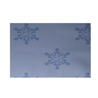 Flurries Decorative Holiday Print Blue Indoor/Outdoor Area Rug Rug Size: 3 x 5