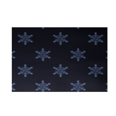 Flurries Decorative Holiday Print Navy Blue Indoor/Outdoor Area Rug Rug Size: 2 x 3
