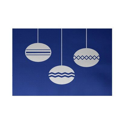 Geo-Bulbs Decorative Holiday Print Royal Blue Indoor/Outdoor Area Rug Rug Size: 4 x 6
