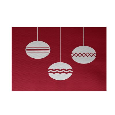 Geo-Bulbs Decorative Holiday Print Red Indoor/Outdoor Area Rug Rug Size: Rectangle 2 x 3
