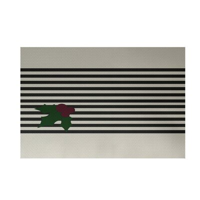 Holly Stripe Decorative Holiday Stripe Print Black Gray Indoor/Outdoor Area Rug Rug Size: 2 x 3