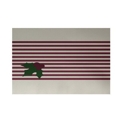 Holly Stripe Decorative Holiday Stripe Print Cranberry White Indoor/Outdoor Area Rug Rug Size: 2 x 3