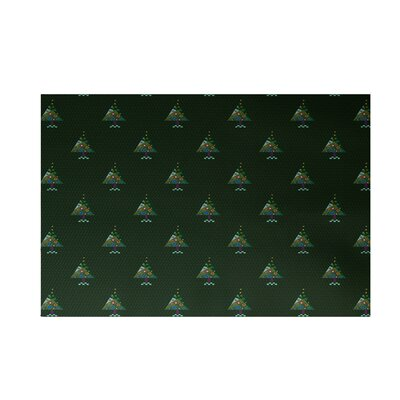 Crazy Christmas Decorative Holiday Print Dark Green Indoor/Outdoor Area Rug Rug Size: 3 x 5