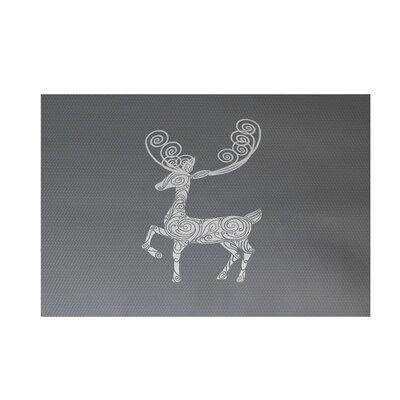 Deer Crossing Decorative Holiday Print Gray Indoor/Outdoor Area Rug Rug Size: 4 x 6