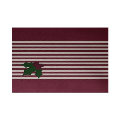 Holly Stripe Decorative Holiday Stripe Print Indoor/Outdoor Rug Cranberry Burgundy Indoor/Outdoor Area Rug Rug Size: 4 x 6