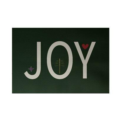 Joy Filled Season Decorative Holiday Word Print Dark Green Indoor/Outdoor Area Rug Rug Size: 2 x 3
