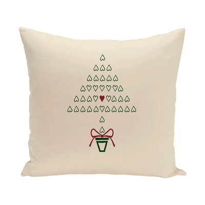 Hearty Holidays Decorative Holiday Print Throw Pillow Color: Ivory/Burgundy, Size: 16 H x 16 W