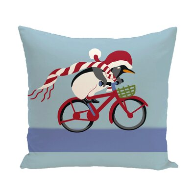 Pedaling Penguin Decorative Holiday Print Polyester Throw Pillow Size: 16 H x 16 W