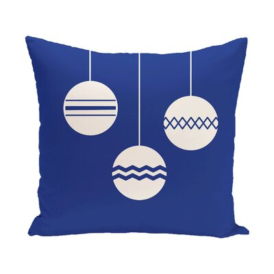Geo-Bulbs Decorative Holiday Print Throw Pillow Size: 18 H x 18 W, Color: Royal Blue