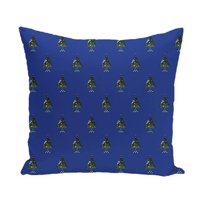 Crazy Christmas Decorative Holiday Print Throw Pillow Size: 16 H x 16 W, Color: Royal Blue