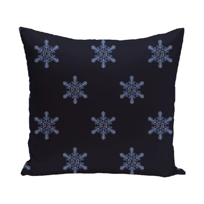 Flurries Decorative Holiday Print Throw Pillow Color: Navy Blue, Size: 18 H x 18 W