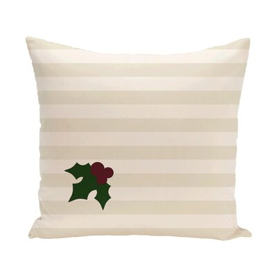 Holly Tones Decorative Holiday Stripe Print Throw Pillow Size: 16