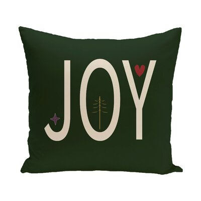 Joy Ed Season Holiday Word Print Throw Pillow Size: 16 H x 16 W, Color: Ivory/Turquoise