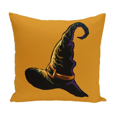 Witchcraft Holiday Print Throw Pillow Size: 16 H x 16 W, Color: Orange