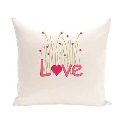 Valentines Day Flower Throw Pillow Size: 18 H x 18 W, Color: Red