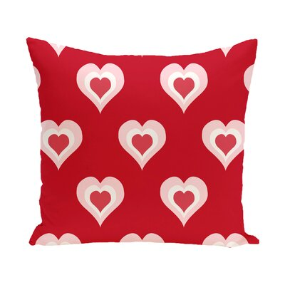 Valentines Day Outdoor Throw Pillow Color: Red, Size: 16 H x 16 W