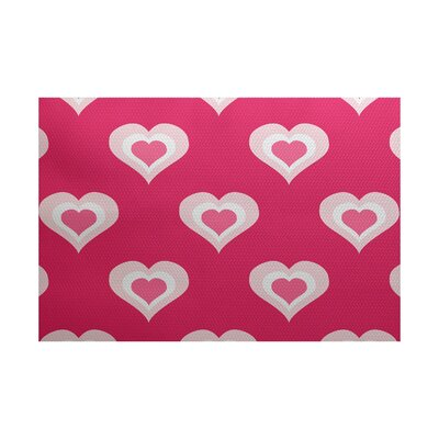Valentines Day Fuchsia Indoor/Outdoor Area Rug Rug Size: 2 x 3